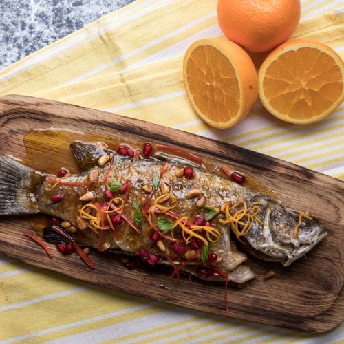 Grilled Sea Bass with Spicy Orange Marmalade