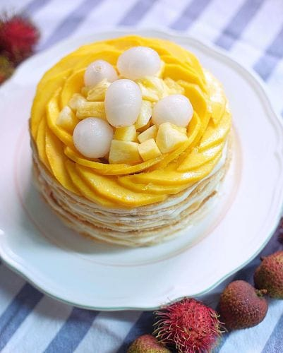 Tropic Throwdown Mille Crepe cake with Honey Ginger Crème