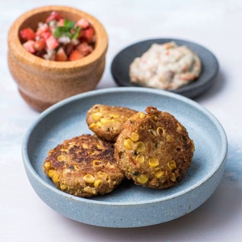 Corn Cakes with Spicy Lime Kaffir Mayo & Strawberry Salsa