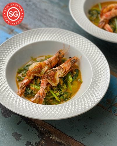 Sayur Lemak With Grilled Prawns